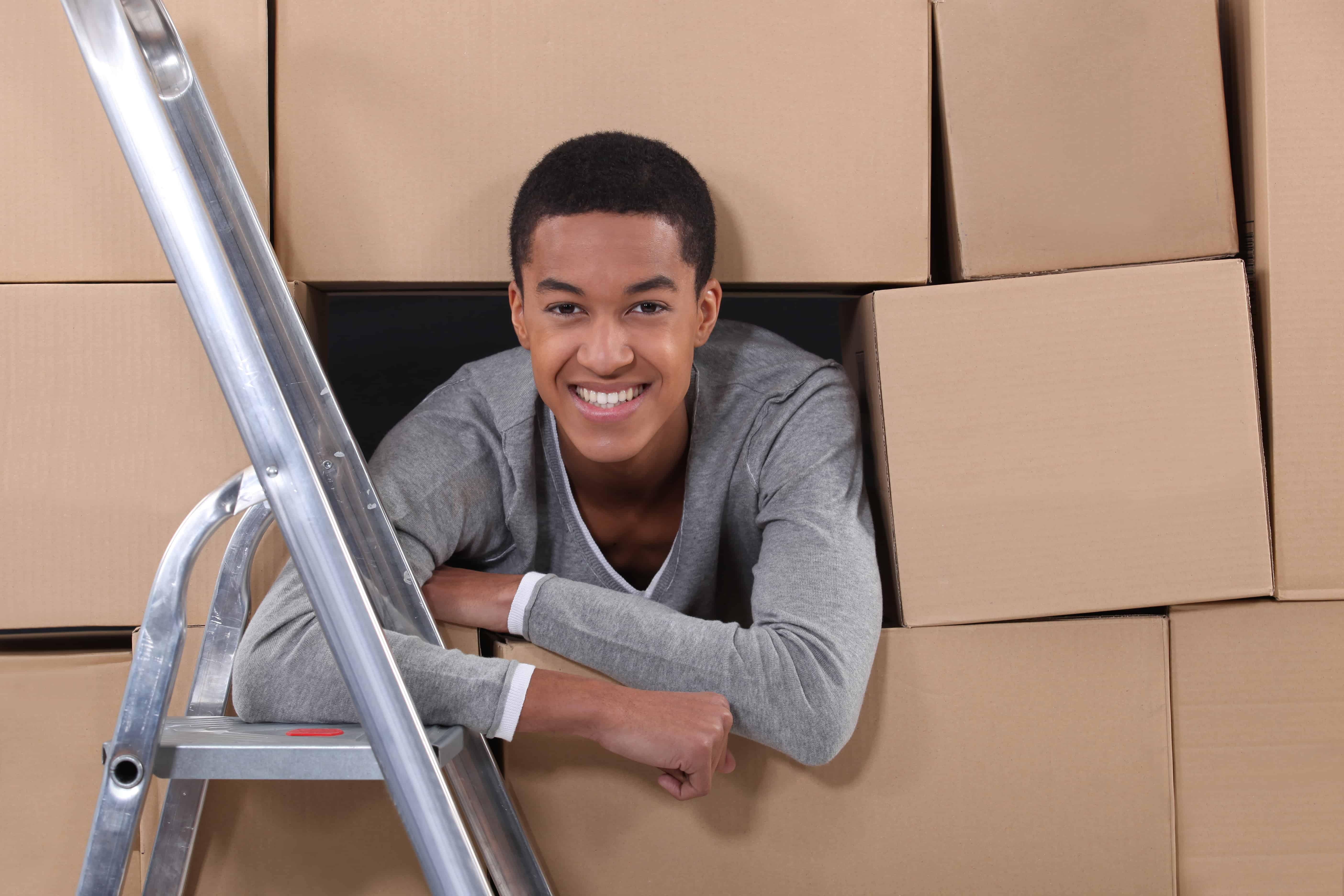 Young man on moving day